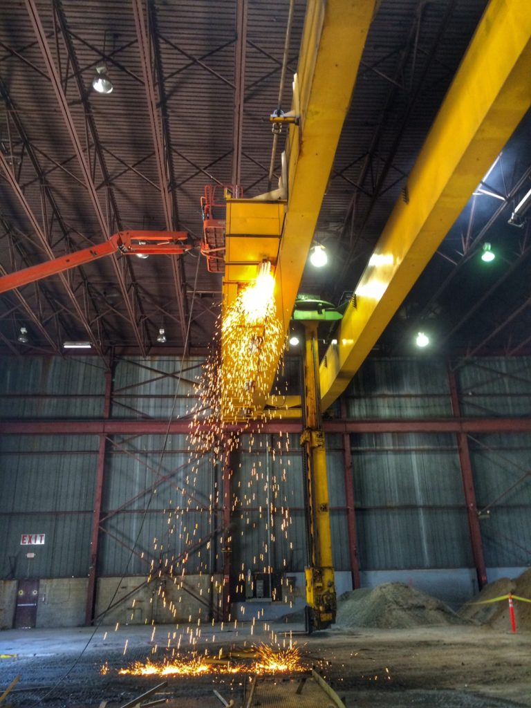 Dismantling a 10 ton gantry crane in Providence, RI.