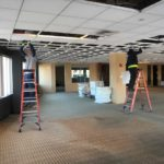 Ceiling removal during an office gut out in Providence, RI