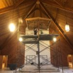 Hanging sculpture removal in a historic chapel in South Kingstown, RI