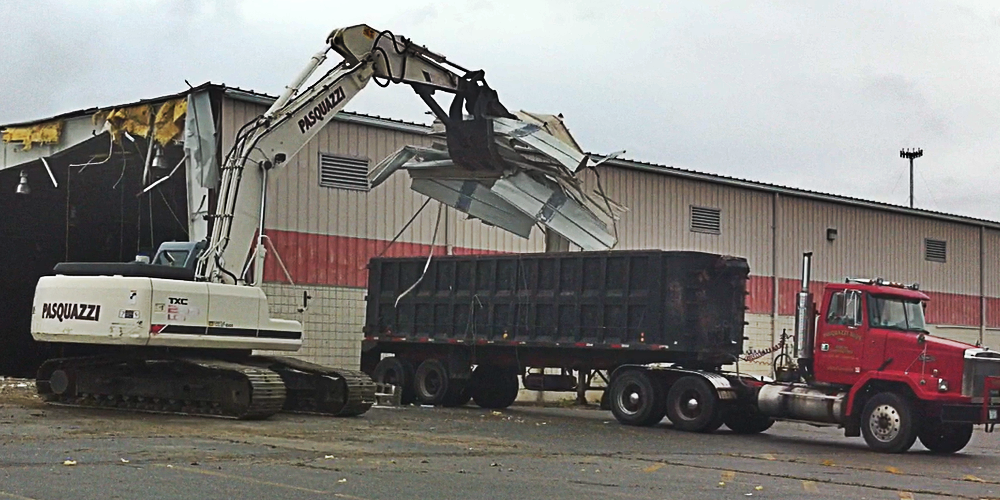Demolition of a BJ's Wholesale warehouse.